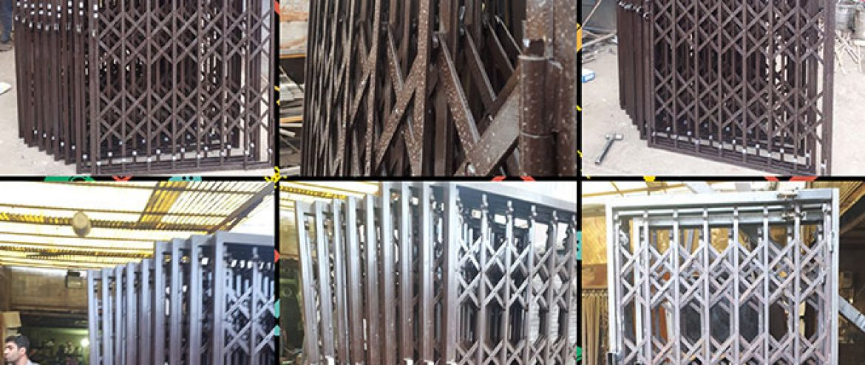 حفاظ آکاردئونی طرح پیچی شکلاتی درب محافظ ساختمان